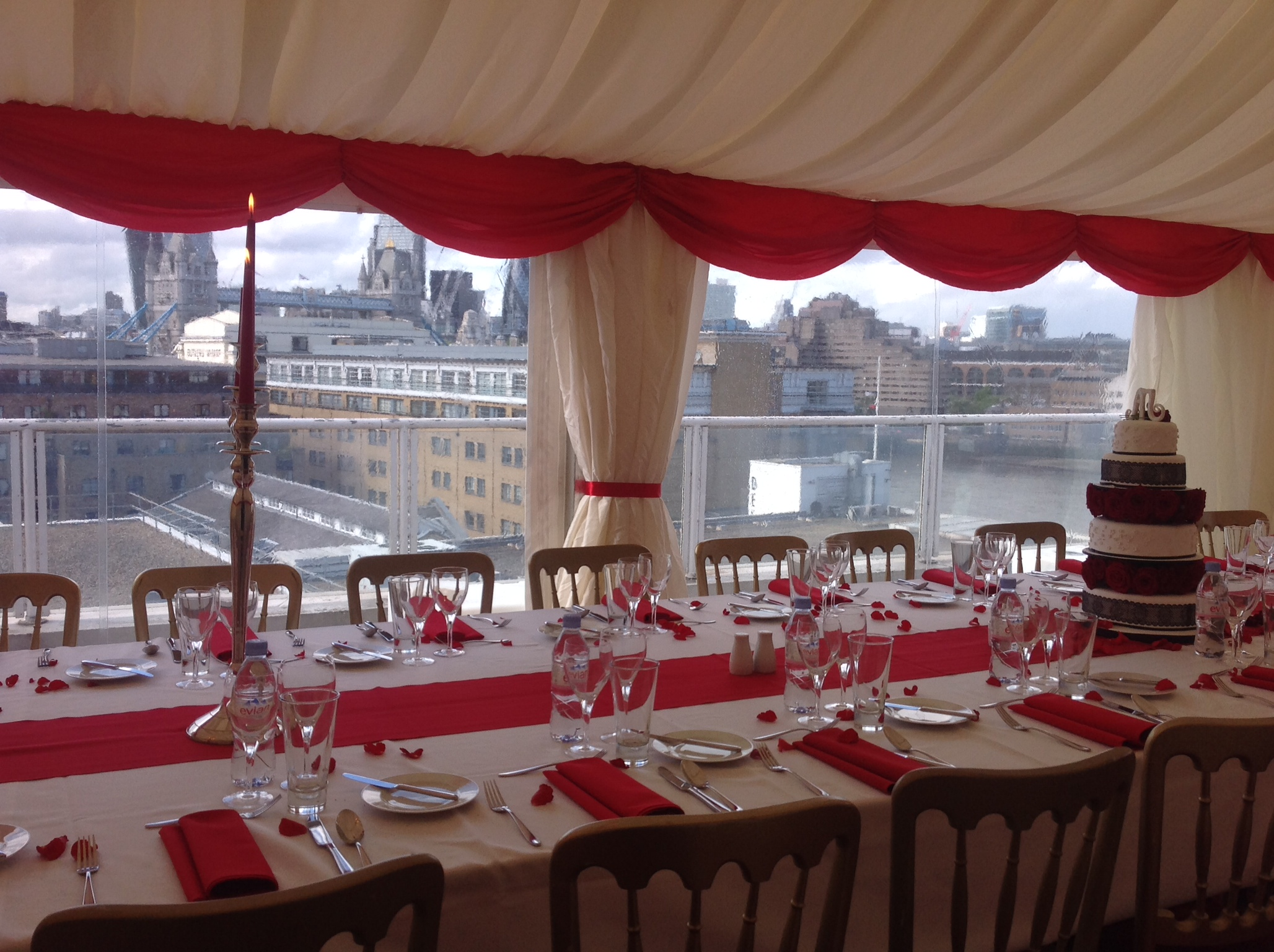Marquee for engagement dinner overlooking Tower Bridge