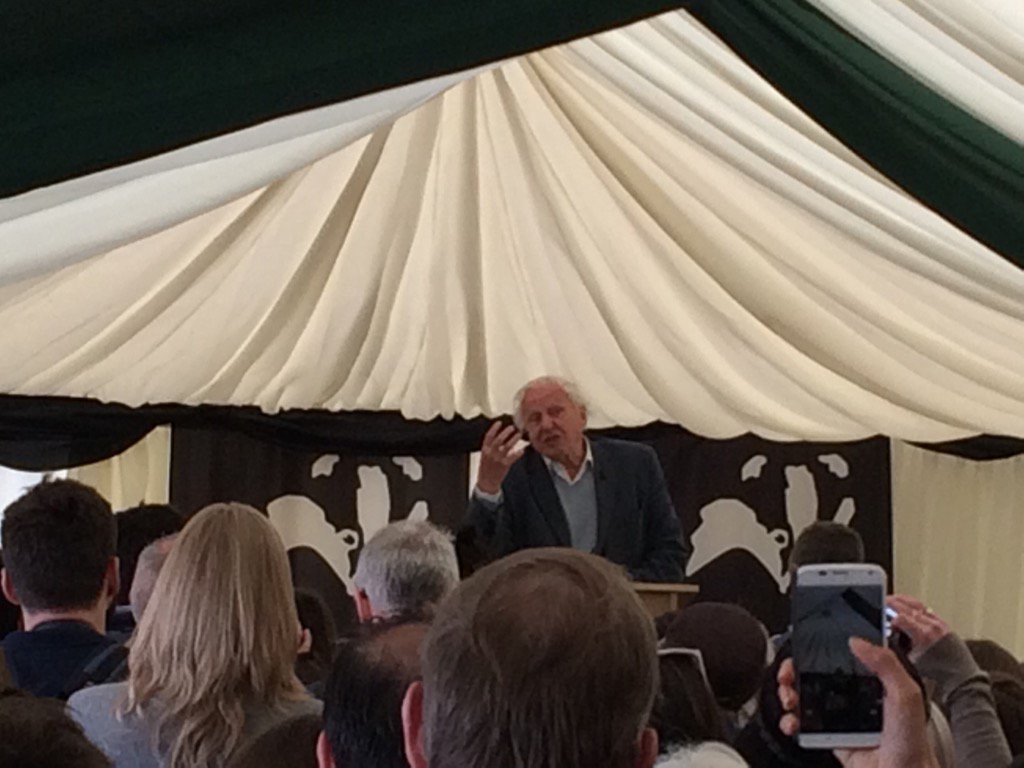 David Attenborough in one of our marquees for the launce of Woodberry Wetlands.