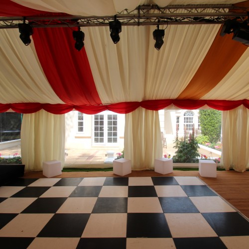 Marquee flooring with checked floor for an event