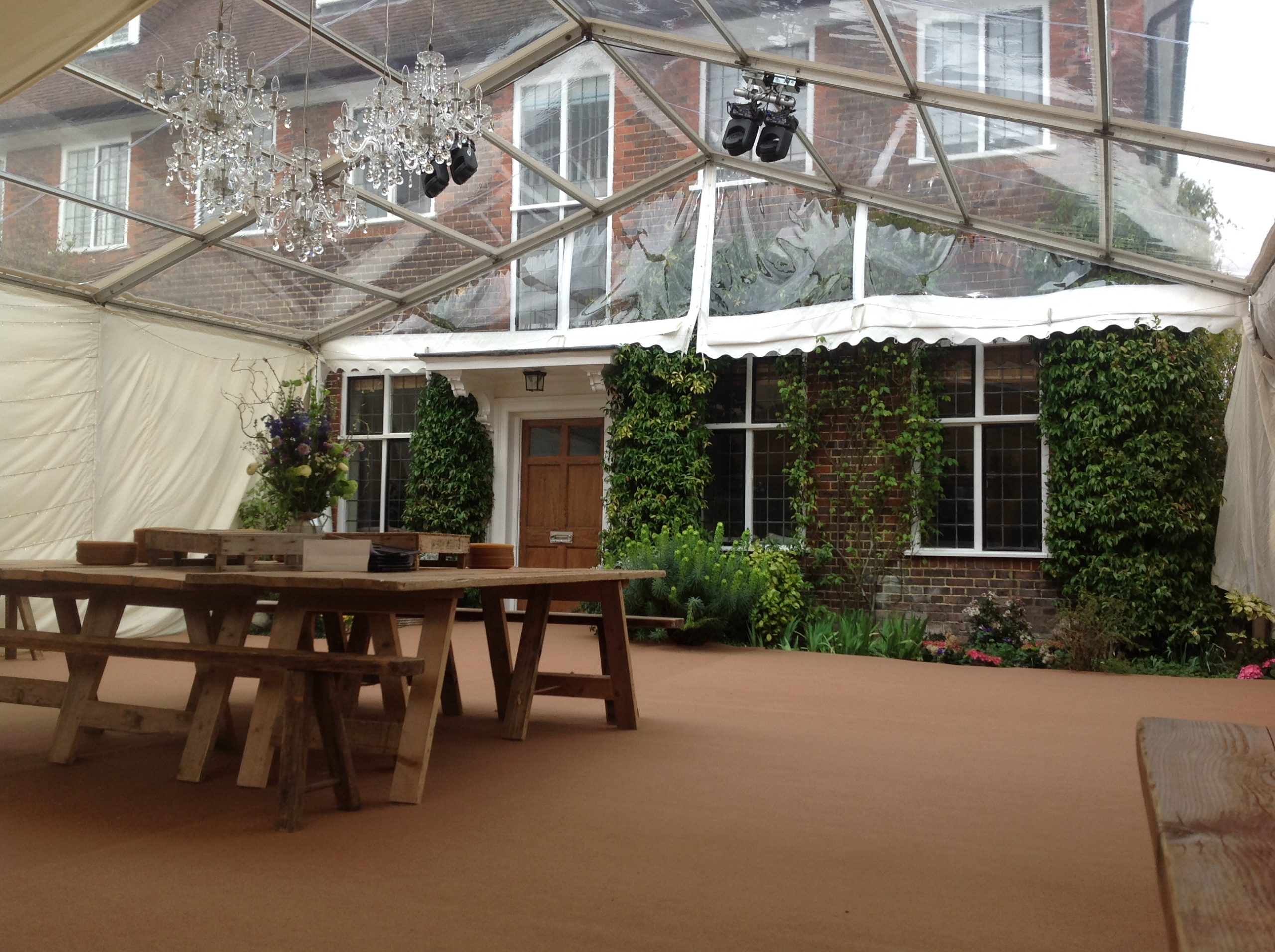 Outside premises set up with marquees as restrictions for outdoor hospitality eased