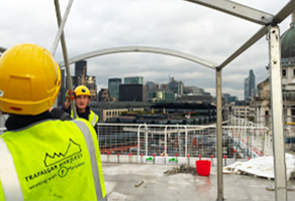 Marquee being put up on a construction client project for a topping out ceremony