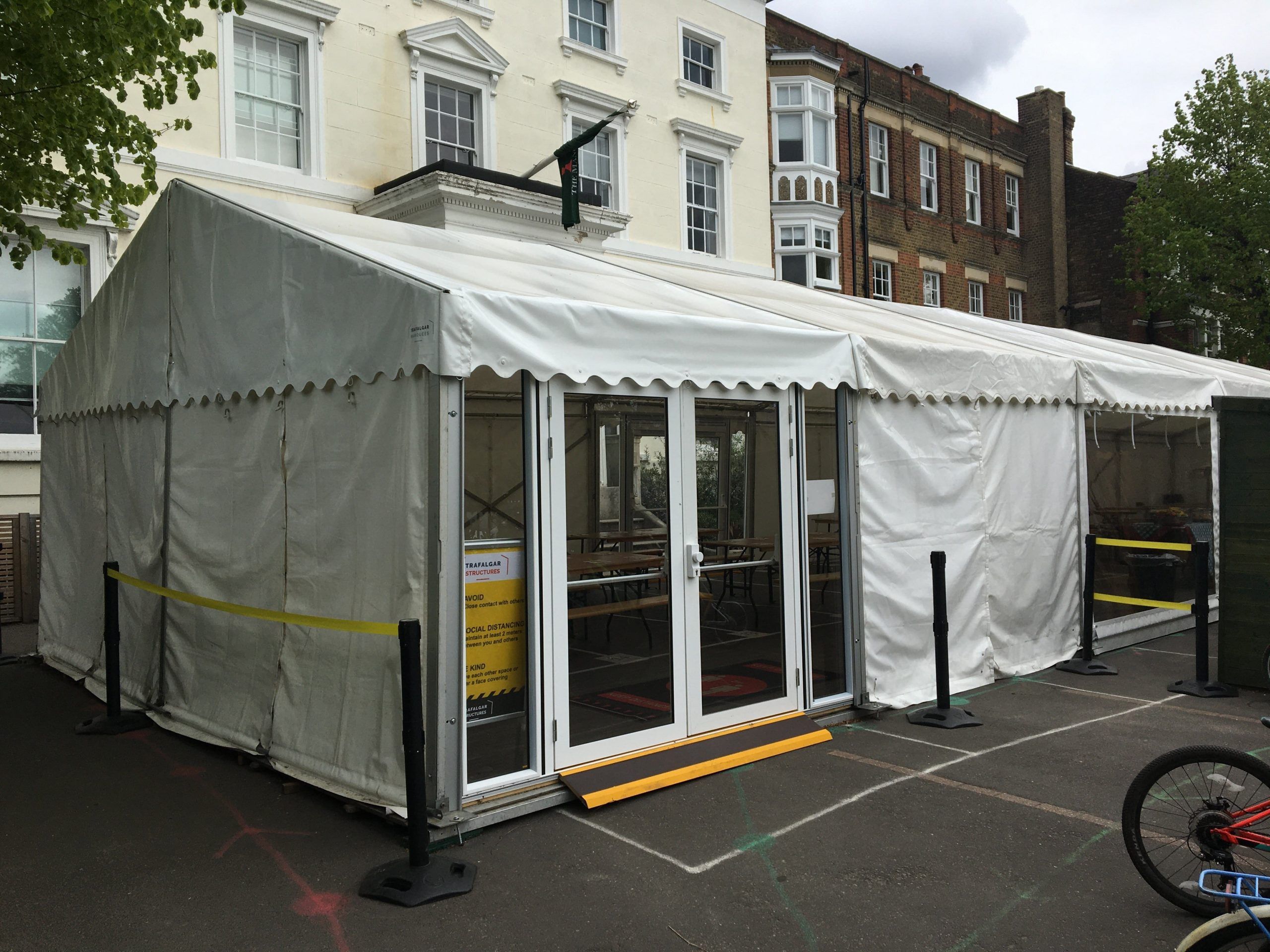 marquee using for temporary space at a school