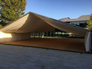 marquee used for temporary extra space at Kings College in Wimbledon, London