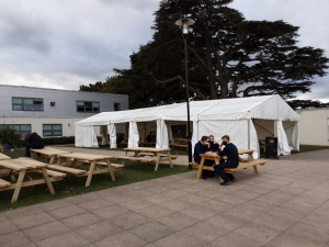 marquee used as temporary canteen or dining space for London South East Colleges