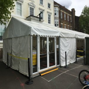 marquee used for additional space for a classroom