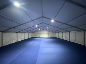 empty marquee set up for school for extra space
