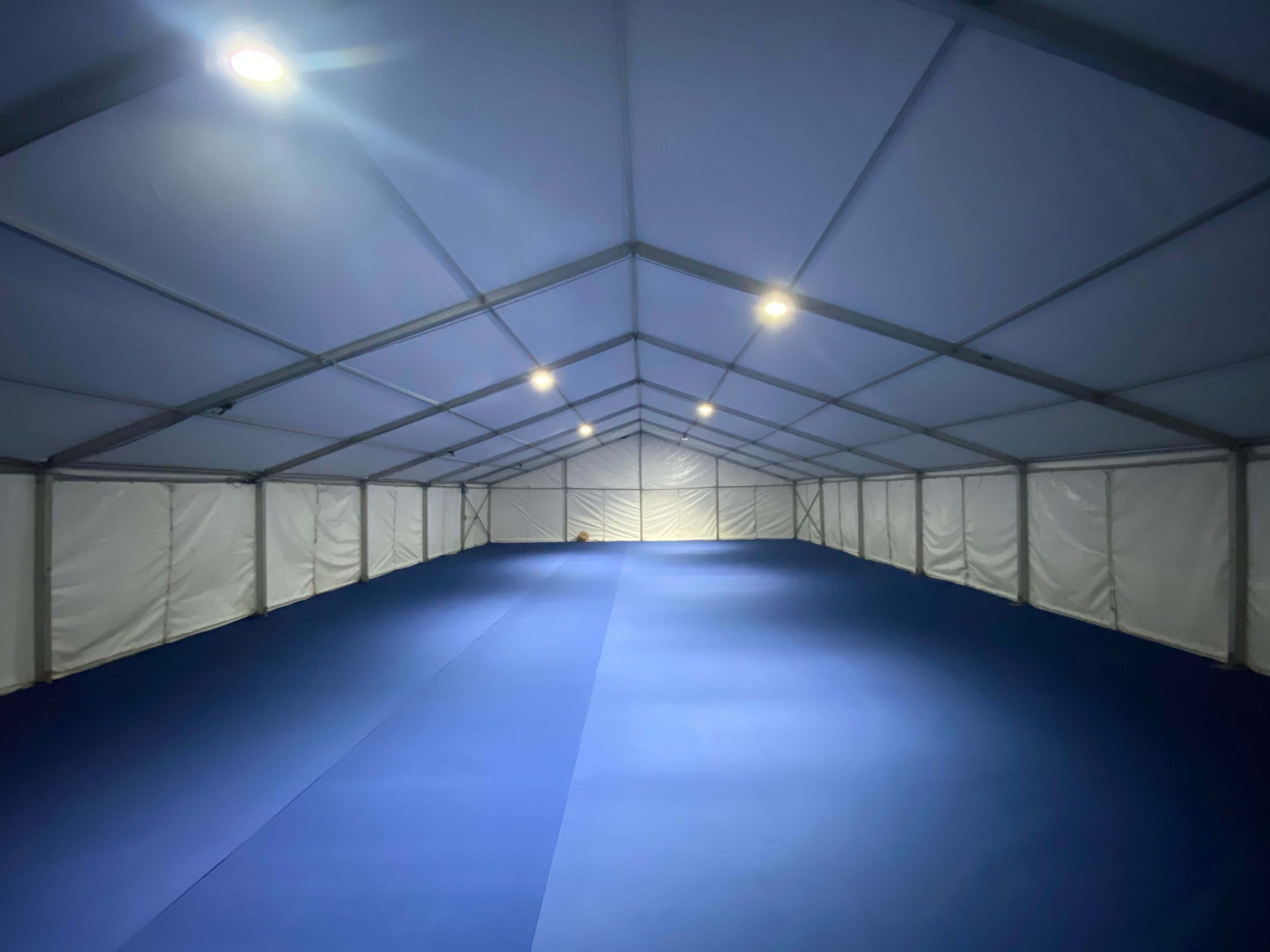 Inside the marquee structure