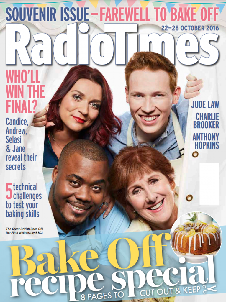 image of Radio times cover, showing a marquee being used for filming of Great British Bake-Off finalists